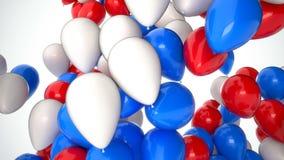 Gesamtlänge cgi-3D von den roten, weißen und blauen Ballonen, die oben über weißen Hintergrund fliegen Perfekte Animation für Fei lizenzfreie abbildung