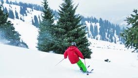 Gesamtlänge des Skifahrers springend vom Baum am Berg, Winter stock footage