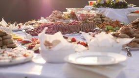 Gesamtlänge einer schwedischen Tabelle, welche auf die Gäste wartet, um sich zu nähern stock footage