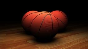 Gesamtlänge von Basketbällen im gedämpften Licht stock footage
