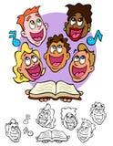 Gesang-Gesichter, mit einem Songbook Lizenzfreie Stockfotografie