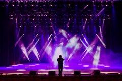 Gesangmann auf Konzertstadium Stockfotos