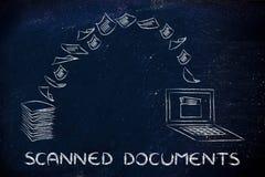 Gescannte Dokumente: Scannenpapier und Machen es zu Daten Stockfoto