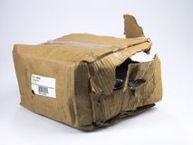 Geschädigtes Paket Stockbild