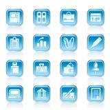 Geschäft, Büro und Finanzikonen Lizenzfreie Stockbilder