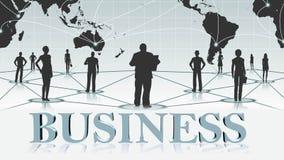 GESCHÄFT - Buchstaben 3D vor Hintergrund Geschäft oder Internet-Konzept des globalen Netzwerks vektor abbildung