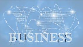 GESCHÄFT - Buchstaben 3D vor Hintergrund Geschäft oder Internet-Konzept des globalen Netzwerks stock abbildung