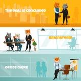 Geschäft Cat Horizontal Banner Set Stockfoto