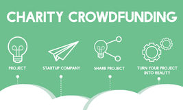 GESCHÄFT Crowdfunding Startcrowdsourcing-Zusammenarbeits-Grafik lizenzfreie abbildung