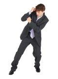 Geschäft, das einen Schlag auf weißem Hintergrund blockt Stockfoto