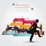 Geschäft, das mit infographic Gebäudehintergrund geht Lizenzfreie Stockfotos