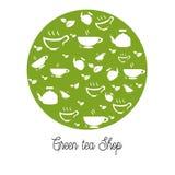 Geschäft des grünen Tees für Logo lizenzfreie abbildung