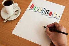 Geschäft des Konzeptbüros und der weißen Seite und des Wortes Lizenzfreie Stockfotografie