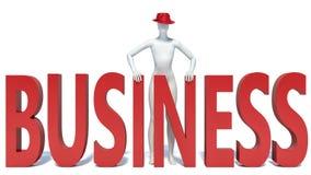 Geschäft des Mannes 3d und des Textes Stockbild