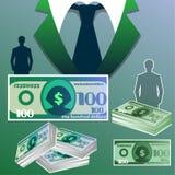 Geschäft färbte Hintergrund mit Schattenbild eines Geschäftsmannes und des Bündels Dollar Lizenzfreie Stockfotos