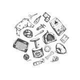 Geschäft für Haustiere Gezeichnete Sammlung des Vektors Hand Lokalisierte Gegenstände auf Weiß vektor abbildung