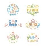 Geschäft für Haustiere wird deutlich oder beschriftet Farblinie Art Set Vektor lizenzfreie abbildung