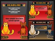 Geschäft- für Haustierefahne mit Katzenhund, Vektorkarikaturillustration Lizenzfreie Stockbilder