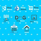 Geschäft- für Haustierelogo, Hund u. Cat Logo, Tier-Logo, streichelt Ikone stock abbildung