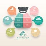 Geschäft Finanz-Infographics-Schablonen-Design Stockfotografie
