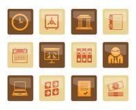 Geschäft, Finanzierung und Büroikonen über braunem Hintergrund stockfoto