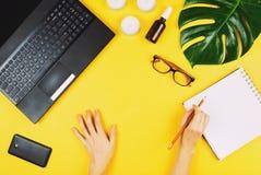 Geschäft flatlay mit Laptop, Handy, Gläsern, Philodendronblatt, Kerzen, Creme und anderem Zubehör lizenzfreies stockfoto