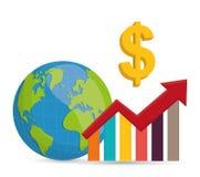 Geschäft, Geld und globale Wirtschaft Stockbild