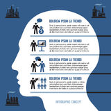 Geschäft Infographic-Konzept mit menschlichem Kopf Stockfoto