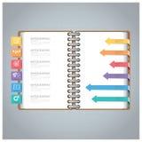 Geschäft Infographic mit Ring Notebook Arrow Bookmark Diagram Stockfoto