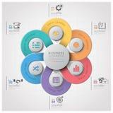 Geschäft Infographic mit spinnendem Kurven-Kreis-Schritt-Diagramm Stockbilder
