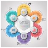 Geschäft Infographic mit spinnendem Kurven-Kreis-Schritt-Diagramm Lizenzfreies Stockfoto