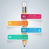 Geschäft Infographics-Origamiart Vektorillustration Bleistift Stockbild
