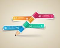 Geschäft Infographics-Origamiart Vektorillustration Bleistift Lizenzfreies Stockbild
