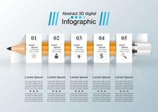 Geschäft Infographics-Origamiart Vektorillustration Bleistift Lizenzfreie Stockfotografie