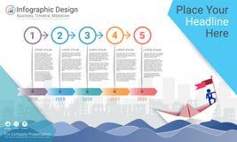 Geschäft infographics Schablone, Meilensteinzeitachse oder Straßenkarte mit Wahlen des Prozessflussdiagramms 5 Stockfotografie