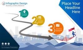 Geschäft infographics Schablone, Meilensteinzeitachse oder Straßenkarte mit Wahlen des Prozessflussdiagramms 3 Lizenzfreies Stockbild