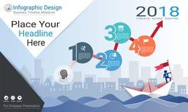 Geschäft infographics Schablone, Meilensteinzeitachse oder Straßenkarte mit Wahlen des Prozessflussdiagramms 4 Lizenzfreie Stockbilder