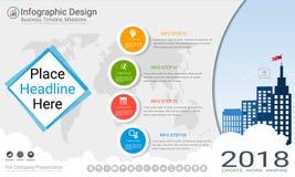 Geschäft infographics Schablone, Meilensteinzeitachse oder Straßenkarte mit Wahlen des Prozessflussdiagramms 4 Lizenzfreie Stockfotografie