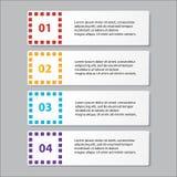 Geschäft infographics Zahlfahnen Schablone oder Websiteplan Vektor Abbildung Lizenzfreie Stockbilder
