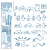 Geschäft, Kommunikation und Leute in der Linie Art Dünne Linie Ikone Lizenzfreie Stockbilder