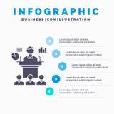 Geschäft, Konferenz, Versammlung, Darstellung, Seminar Infographics-Schablone für Website und Darstellung Graue Ikone des GLyph m lizenzfreie abbildung