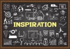 Geschäft kritzelt auf Tafel mit dem Konzept der INSPIRATION Lizenzfreies Stockfoto