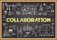 Geschäft kritzelt auf Tafel mit dem Konzept der Zusammenarbeit Stockfoto