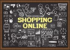 Geschäft kritzelt auf Tafel mit kaufendem on-line-Konzept Lizenzfreie Stockbilder