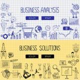 Geschäft kritzelt mit dem Konzept der Unternehmensanalyse und der Lösungen Lizenzfreies Stockfoto