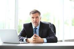 Geschäft, Leute und Technologiekonzept - glücklicher lächelnder Geschäftsmann mit Laptop-Computer Büro stockfotografie