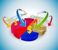Geschäft mit Kreisdiagramm Stockbilder