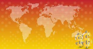 Geschäft mit Weltkartehintergrundvektor lizenzfreie abbildung