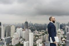 Geschäft Person Standing Rooftop Concept Stockfoto