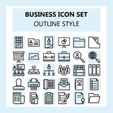 Geschäft 30 und Büro-Ikonen-Satz, unter Verwendung der Entwurfsart stock abbildung